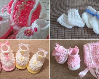 Baby Knitting patterns: Olivia Shoes, Bonnet and set of 3 Socks Newborn to 0-6mths approx