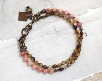 Rhodonite bracelet Agate bracelet Pink bracelet Pink stone jewelry Brown stone bracelet Multi strand bracelet Gifts for mom Cowgirl bracelet