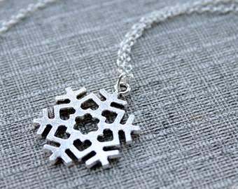 Snowflake Necklace, for the love of snow, silver snowflake pendant with hearts on long sterling chain, jewelry present for women, gift box