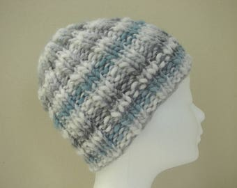 Knit hat soft gray blue white teen warm comfortable chunky winter hat knit in round no seams multicolor thick and thin woolen acrylic yarn