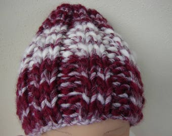 Chunky knit hat dark red white kids hat size 2 till 5 yrs warm comfortable hat knit in round no seams multicolor burgundy boy girl toddler