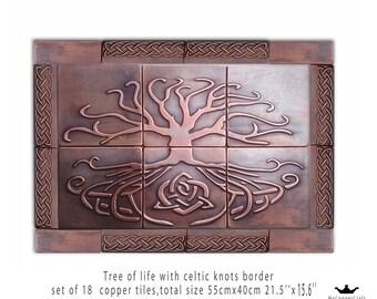 Metal tiles, Unique tiles, Set of 18 tiles made of copper, Metal backsplash