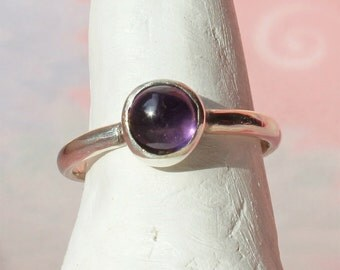 Silver Ring - Amethyst Ring - Sterling silver Stacking Ring  - Birthstone Ring - Handmade To Order - All Sizes