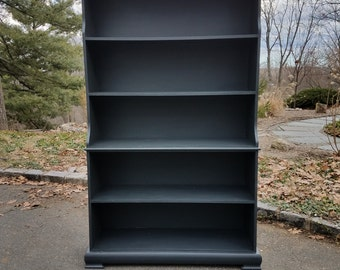 SOLD! Solid Wood Vintage Bookcase Hand Painted in Annie Sloan's Graphite - Local Pickup / Delivery Only