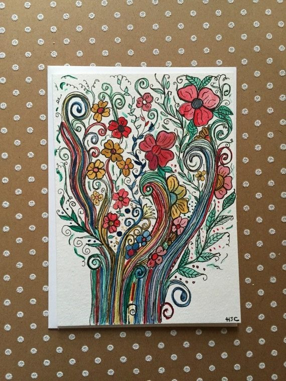 Hand Painted Flower Card,  Watercolor and Ink Greeting Card