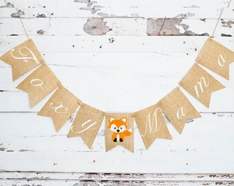 Fox Baby Shower Decorations, Woodland Themed Baby Shower Decor, Foxy Mama Banner, Mom To Be Sign, B535