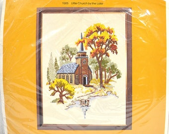 """Large Crewel Embroidery Kit- The Creative Circle Little Church by the Lake 18"""" x 24"""" Crewel Kit, DIY Early American Home Decor"""