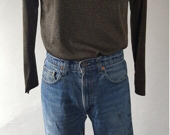 VTG Gold/Brown Metallic Lurex Knit Top/Pullover-Casual