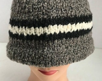 100% wool Hand-knit cap/hat - Grey, Blue, Brown or white