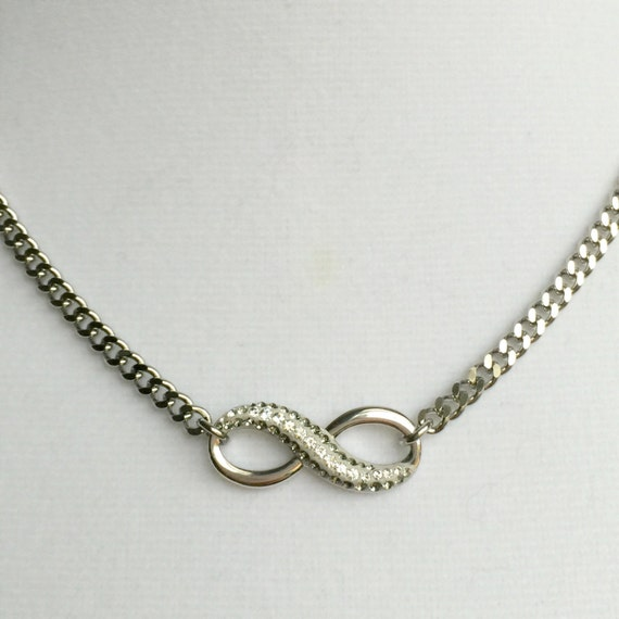 Swarovski Pave Black Diamond & Crystal Infinity Necklace