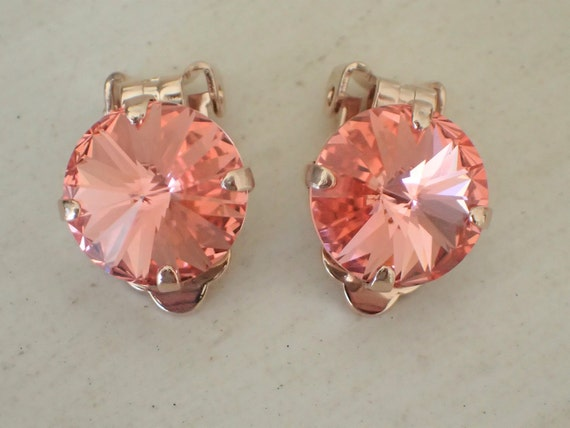 Rose Peach Crystal Clip On Earrings, Rose Gold