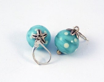 Sleepyhead earrings glass beads wound celadon blue torch with white dots