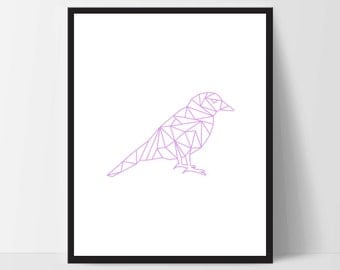 Pink Purple Geometric Bird, Printable Wall Art, Wall Print, Boho Art, Wall Prints, Bird Prints, Printable Art, Printable, Sitting Bird, Art
