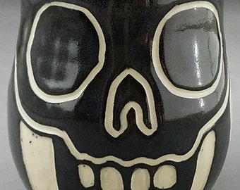 Block Pattern Skull Coffee Mug