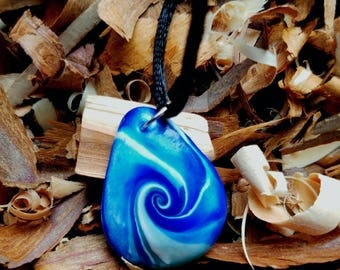 Polymer Clay Waves of Blue Necklace