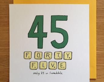 45th birthday card / 45/ 45th / scrabble