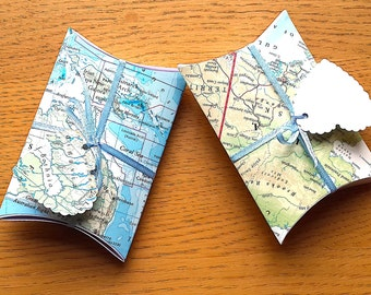 Travel Theme Favor Boxes - Map Favor Boxes - Travel Favors - Travel Theme Wedding / Party - Map Gift Box - Travel Party  Decor - Table Decor