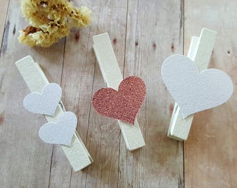 Heart Clothespins,Wedding Clothespins,Baby Shower photo clips,Gold heart clothespin pins,Pink heart clothespins,Wedding photo clips,heart