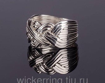 925k silver handmade 12 band  puzzle ring