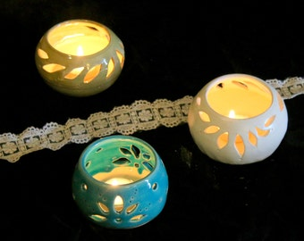 Wedding candle holder. Candle lanterns ,Ceramic candle holder. Candle Luminary, ceramic Tea light. Delight gift, table top. romantic gift