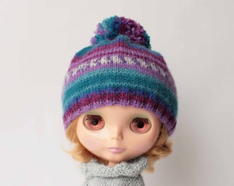 Purple hat for blythe from VolnaDollsClother, Many colored cap for blythe doll, Variegated doll beret, Hand knitted blythe outfit, Beanie