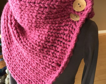 Hand Knit Wool Super Cowl with moveable buttons