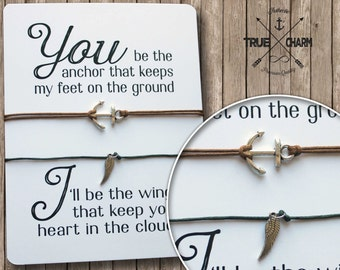 Couples Valentine gift - Love gift - Anchor and wings - Couples bracelet set  - Wedding favors - Bridal shower