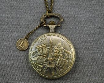 Eiffel Tower Pocket Watch Notre Dame de Paris Watch Fob Mens Pocket Watch Arc de Triomphe Locket Pendant 46mm -P677