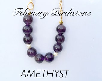 Amethyst and Pearl Necklace, February Birthstone Necklace, Ameythst and Pearl Choker, Gd Amyethyst and Pearl Necklace
