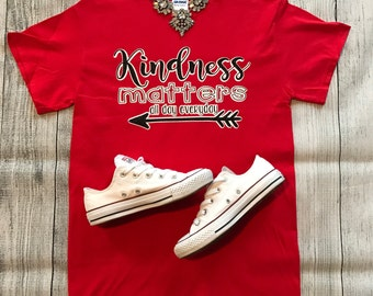 Teacher School T-Shirt Kindness Matters All Day, Every day School Pride Personalized Valentines Day Tee