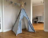 Childrens Teepee NEW in Blue Stars  Available in 3 different sizes  comes complete with wooden poles  Handmade to order