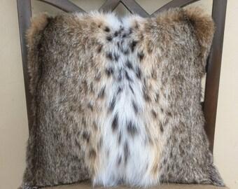 Genuine Bobcat Fur Handmade Decorative Pillow Cover. 14 x 14 Includes full  insert.