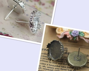 50 pairs (100 pcs) earring Studs 15mm Round crown edge Cabochon Bezel Setting Nickel Free