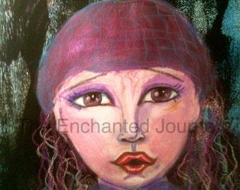 OCTOBER 2017 CALENDAR Little girl in the woods, wool cap, frightened, big eyes