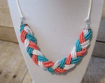 Beaded Necklace - Braided Necklace - Sead Bead Necklace - Chunky Statement Necklace - Coral Jewelry - Multi Strand Necklace - Bead Necklace