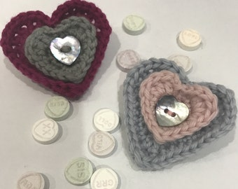 Romance-Heart Shaped-Crochet-Brooch