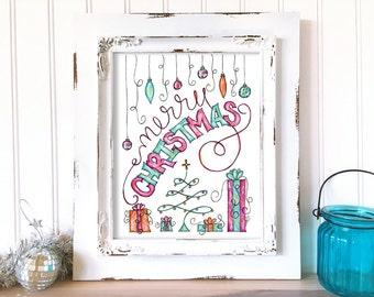 Christmas Art Print. Merry Christmas Wall Art. Hand Drawn Holiday Decor. Christmas Print. Watercolor Christmas Art. Whimsical Art Print.