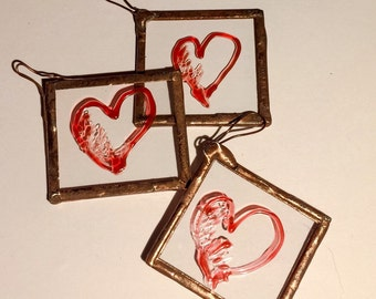 Glass gift tags, wedding momento, wedding favours, Valentine's Day, red heart tag , glass love heart, gift decoration