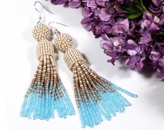 Seed bead earring Blue beige earring Bead tassel earring Long dangle earring Extra long earring Long fringe earring Beaded jewelry
