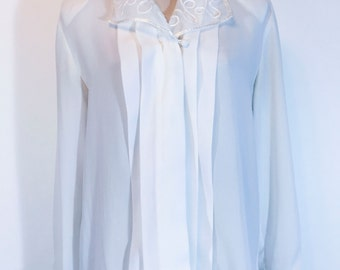 Vintage Womens White Long Sleeve Blouse Pleated White Blouse Button Down Polyester Shirt 1960s Floral Hippie Shirt