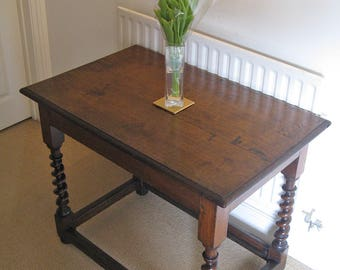 18thC & Later Oak Side or Centre Table with Barley Twist Supports