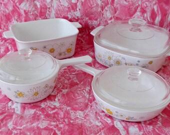 Vintage Corning Ware Casserole Set, Floral Bouquet, 7 Pieces