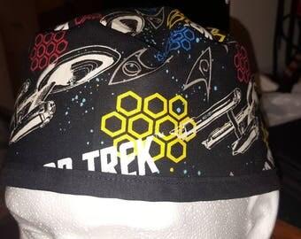 Star Trek print scrub cap, skull cap, welding cap