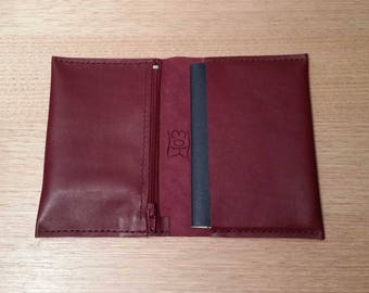 Italian leather burgundy passport cover with zip pocket