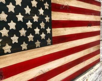 Distressed Wood American Flag Art Rustic Weathered Painted