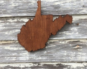 WV Wood State Cutout - West Virginia Wooden Cutout Wall Art Hanging Sign State Sign
