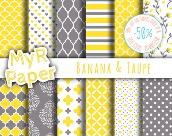 "Romantic digital paper: ""Banana & Taupe"" seamless pattern for scrapbooking, invite, card – perfect for valentine's day and wedding"
