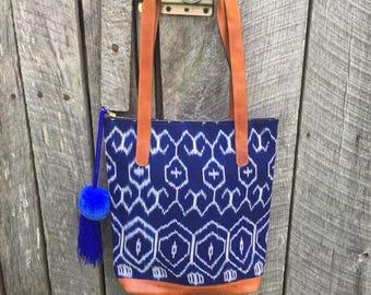 SALE: Vintage Ikat tote bag, tote bag, work bag, handwoven handdyed bag, boho bag, bohemian bag,  thecatbirdskitten