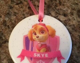 Paw Patrol Skye Christmas Ornament ~ Tree Decor ~ Puppy ~ Porcelain ~ Pink