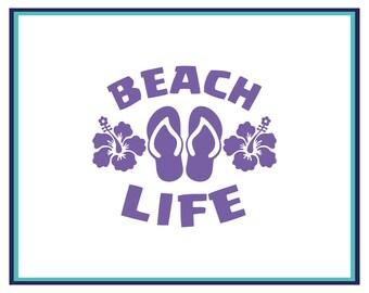 Beach Life Flip Flop Decal - Beach Life Car Decal - Flip Flop Decal - Window Decal - Laptop Decal - Beach Car Decal - Yeti Decal - Summer
